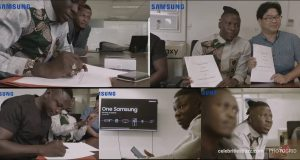 Photo of Stonebwoy signed as brand ambassador for Samsung Ghana Limited