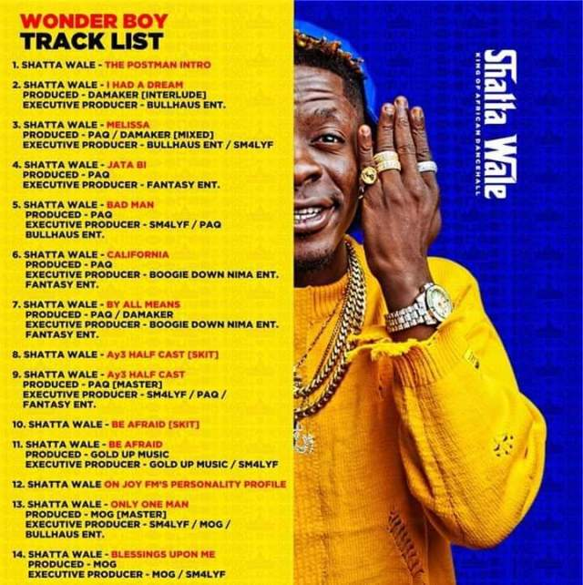 Photo of Shatta wale unveils his tracklist for his wonder Boy album