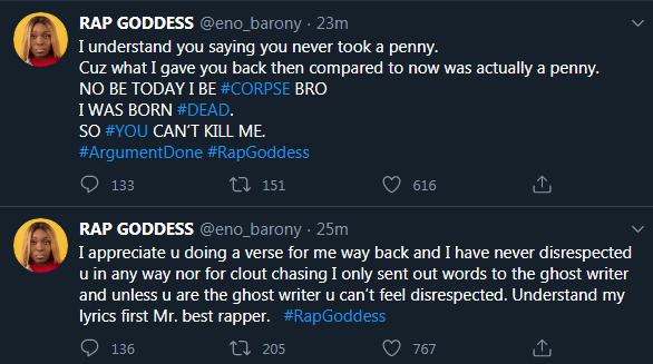 Eno Barony replies Medikal for calling her a corpse