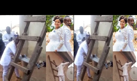 Groom shawns Bride in Chuch to fix a client's DSTV on Wedding Day (Video)